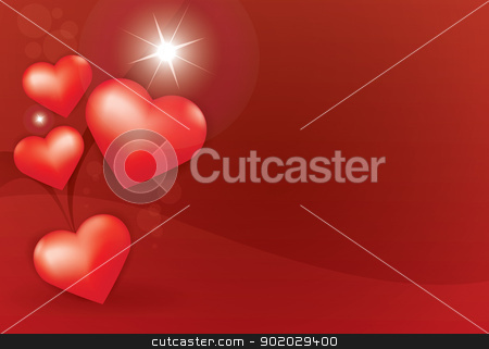 Heart star red background stock vector clipart, Flying Hearts, shiny Star on red background Valentine's day illustration. by antkevyv