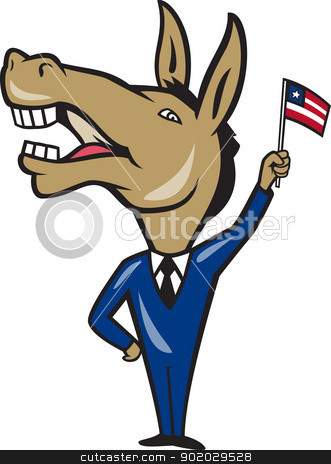 Democrat Donkey Mascot American Flag stock vector clipart, Illustration of a democrat donkey mascot of the democratic party waving  american stars and stripes flag done in cartoon style. by patrimonio
