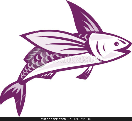 Flying Fish Retro stock vector clipart, Illustration of a flying fish done in retro style on isolated white background. by patrimonio