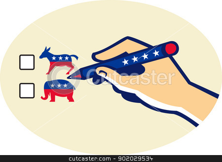 Hand Holding Pen Voting American Election stock vector clipart, Illustration of a hand writing with pen voting american election ballot for democrat or republican party. by patrimonio