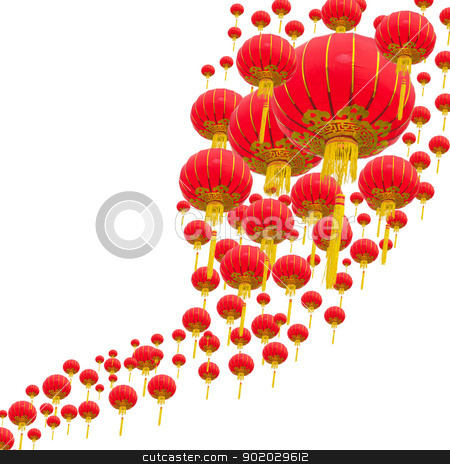 Chinese lantern stock photo, Chinese lantern with white background by iroomm