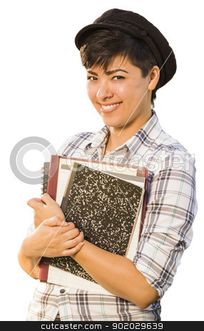 Portrait of Mixed Race Female Student Holding Books Isolated stock photo, Portrait of Pretty Mixed Race Female Student Holding Books Isolated on a White Background. by Andy Dean