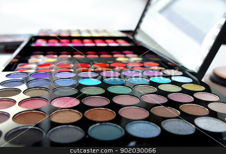 Professional cosmetic palette stock photo, Cosmetic palette over white background with a lot of vivid bright colors and mirror                  by Tatiana Mihaliova