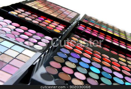 Professional cosmetic palette stock photo, Cosmetic palette over white background with a lot of vivid bright colors                by Tatiana Mihaliova