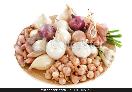 varieties of onions stock photo, group of varieties onions in a wood dish by Bonzami Emmanuelle