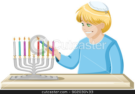 A Boy Lights A Hanukkiah Candle stock vector clipart, A vector illustrations of a jewish boy lighting Hanukkiah candles for Hanukkah. by Liron Peer