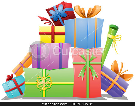Pile of Gift Boxes stock vector clipart, A vector illustration of a pile of gift boxes wrapped for the holidays. by Liron Peer