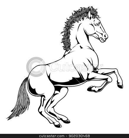 Black and white horse illustration stock vector clipart, An illustration of a black and white monochrome horse rearing on its hind legs by Christos Georghiou