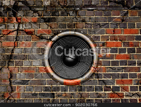Speaker on a cracked brick wall background stock photo, Audio speaker on a cracked brick wall background by steve ball