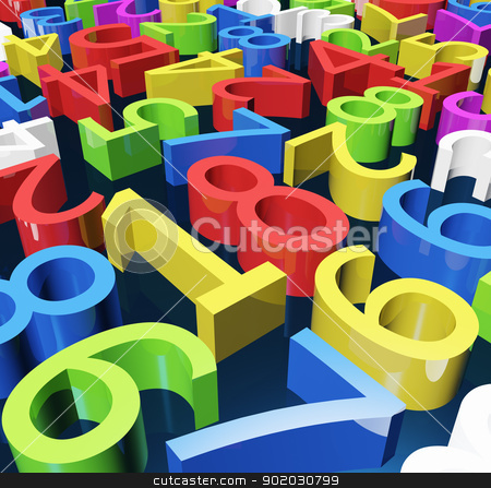 Color numbers stock photo, Many numbers of different colors and orientations by Onyshchenko Viktor
