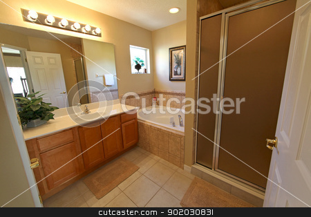 Master Bathroom stock photo, A Bathroom, Interior shot in a Home by Lucy Clark