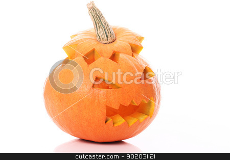 Halloween pumpkin stock photo, Halloween pumpkin on a white background by yekostock