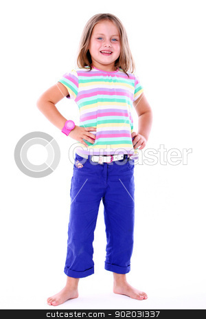 Little girl in colored t-shirt stock photo, Little girl in colored t-shirt on white backgrund by yekostock