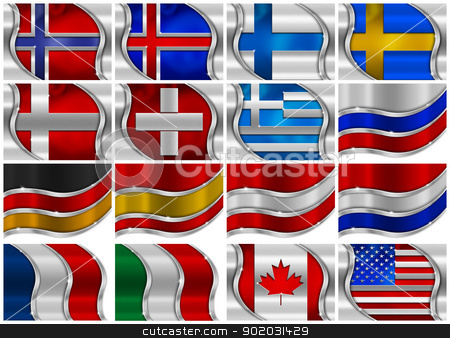 Set of Metal Flags - 16 Items stock photo, Collection of 16 metal flags on White Background by catalby