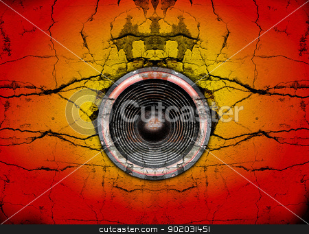 Speaker on a cracked wall background stock photo, Audio speaker on a cracked wall background by steve ball