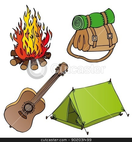 Camping objects collection 1 stock vector clipart, Camping objects collection 1 - vector illustration. by connynka