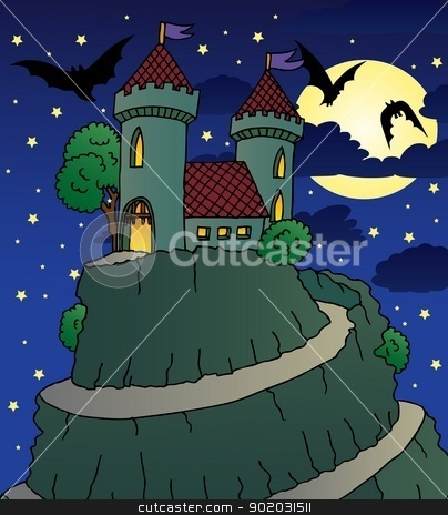Castle by night stock vector clipart, Castle by night - vector illustration. by connynka