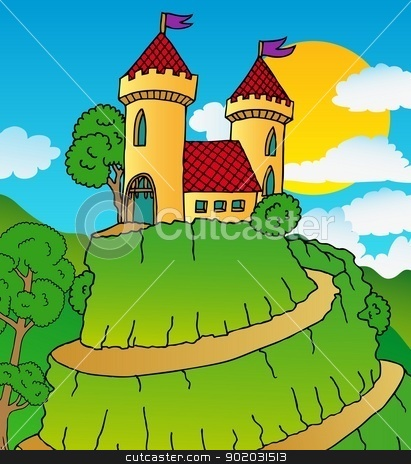 Castle on hill stock vector clipart, Castle on hill - vector illustration. by connynka