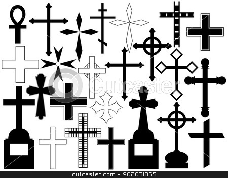 Cross set stock vector clipart, Cross set illustration on white background by Smultea Simona
