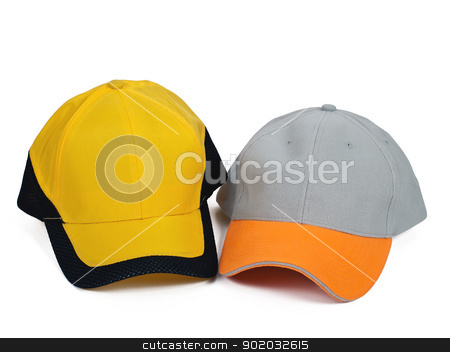 two caps stock photo, two baseball caps isolated on white background by burnel11
