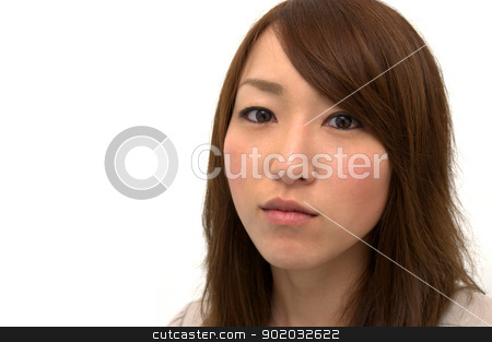 Asian Beautiful Girl's Portrait  stock photo, Asian Beautiful Girl Portrait Staring at Camera, Copy Space  by blueperfume