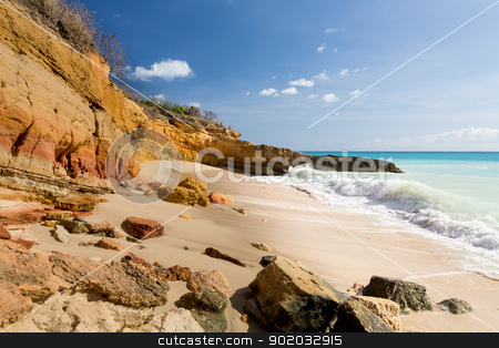 Cupecoy Beach Sint Maarten stock photo, Sandstone cliffs frame Cupecoy Beach on Sint Maarten St Martin Caribbean by Steven Heap