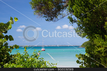 Glorious beach at Anse Marcel on St Martin stock photo, Anse Marcel beach and boats on french side of St Martin Sint Maarten Caribbean by Steven Heap