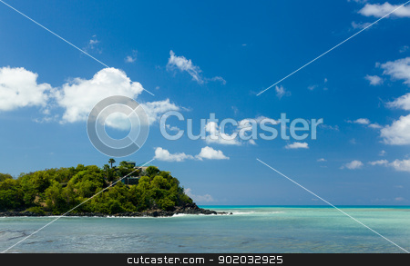 Friar's bay on St Martin in Caribbean stock photo, Headland off Friar's or Friars bay off caribbean island of St Martin Maarten by Steven Heap