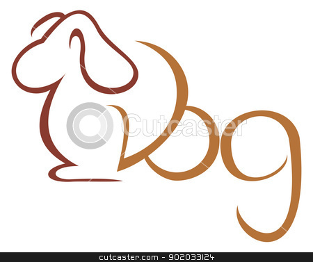 Dog symbol stock vector clipart, Illustration of dog isolated on white by Oxygen64