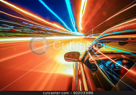 blast off stock photo, light on high-speed highway of night city by alex grichenko