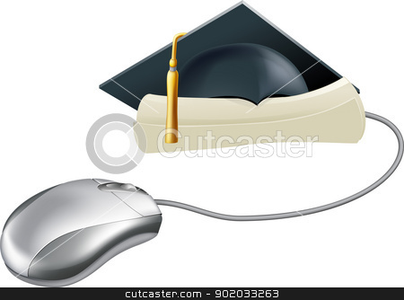Graduation computer mouse concept stock vector clipart, Internet education, training or learning concept, a computer mouse connected to a diploma or certificate scroll  with graduation mortar board cap on it.  by Christos Georghiou