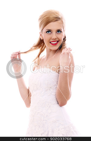 Happy young bride stock photo, Portrait of happy young bride by yekostock