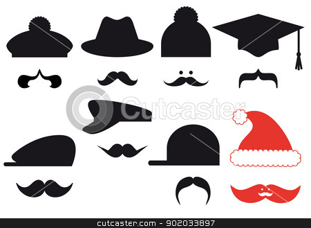 Mustache set with hats, vector  stock vector clipart, Mustache set with hats, vector design elements by Beata Kraus