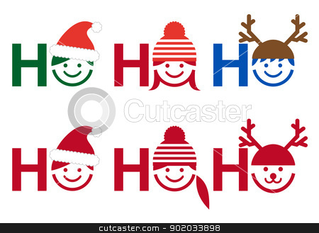 Ho ho ho Christmas card, vector stock vector clipart, Ho ho ho Christmas card with people icon faces, vector  by Beata Kraus