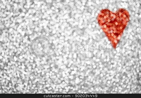 Glitter Heart Background stock photo, Abstract defocused bokeh heart background by Stephanie Zieber