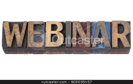 webinar word stock photo, webinar word - isolated text in vintage letterpress wood type blocks stained by red, blue and black ink by Marek Uliasz