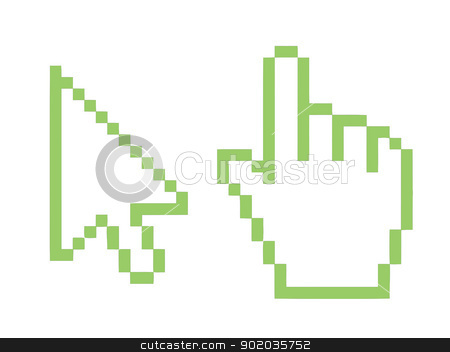 Eco green mouse cursor buttons stock photo, Eco green mouse cursor buttons isolated on white background. by Martin Crowdy