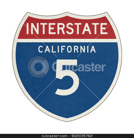 Grunge California Interstate Highway sign stock photo, Grunge American California Interstate Highway number 5 sign or shield; isolated on white background. by Martin Crowdy