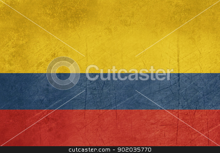 Grunge Colombia Flag stock photo, Grunge sovereign state flag of country of Colombia in official colors. by Martin Crowdy