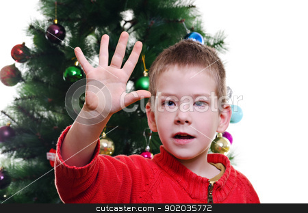 christmas portrait stock photo, Young boy showing five fingers in front of christmas tree, looking at camera, horizontal shot by Milsi Art