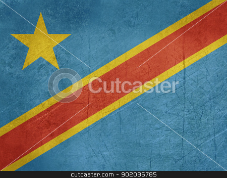 Grunge Democratic Republic of Congo stock photo, Grunge sovereign state flag of country of Democratic Republic of Congo in official colors.  by Martin Crowdy