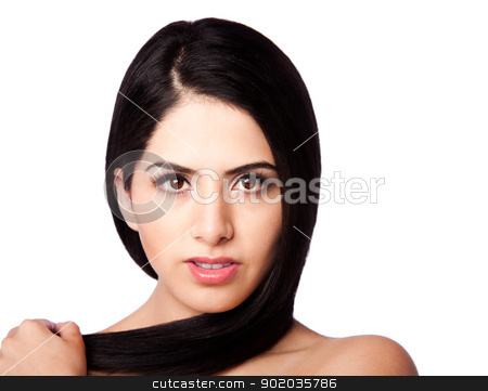 Beauty face and hair stock photo, Beatiful healthy woman face with straight long hair wrapped around head with clear skin - hair styling concept, isolated. by Paul Hakimata