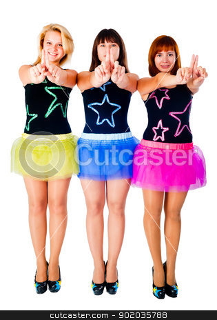 Three pretty girls dancing stock photo, Three young beautiful women in dancing costumes by Aikon