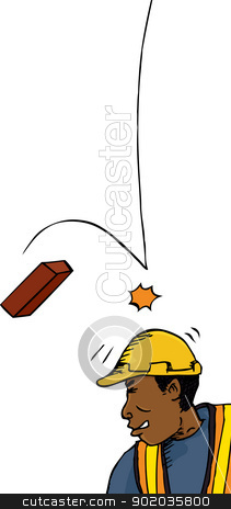 Brick Falls on Worker stock vector clipart, Male construction worker hit on head with brick by Eric Basir