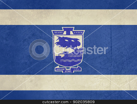 Grunge Holon flag stock photo, Grunge city of Holon flag from state of Israel in official colours. by Martin Crowdy