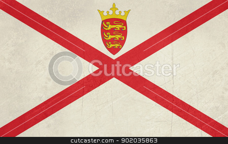Grunge Jersey Flag stock photo, Grunge sovereign state flag of dependent country of Jersey in official colors.  by Martin Crowdy