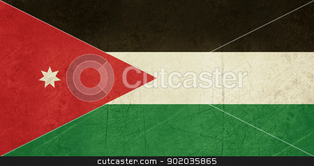 Grunge Jordan Flag stock photo, Grunge sovereign state flag of country of Jordan in official colors. by Martin Crowdy