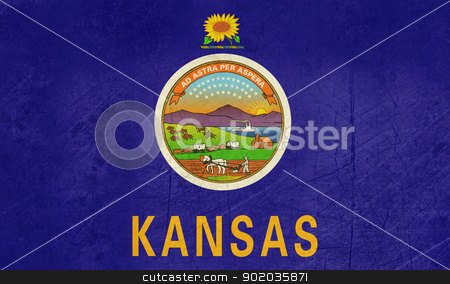 Grunge Kansas state flag stock photo, Grunge Kansas state flag of America, isolated on white background. by Martin Crowdy