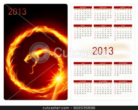 Calendar twenty thirteen. Fire Snake stock photo, Calendar twenty twelve template. Fire Snake. Illustration for design by dvarg