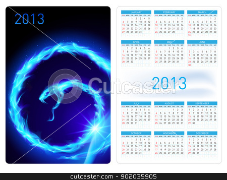Fire Snake. Calendar twenty thirteen.  stock photo, Blue Fire Snake. Calendar twenty twelve template illustration. by dvarg
